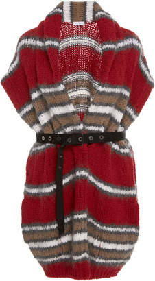 Brunello Cucinelli Belted Striped Wool-Blend Cardigan