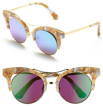 Women's Gentle Monster 52Mm Retro Sunglasses - Brown/ Bright Blue Mirror $305 thestylecure.com