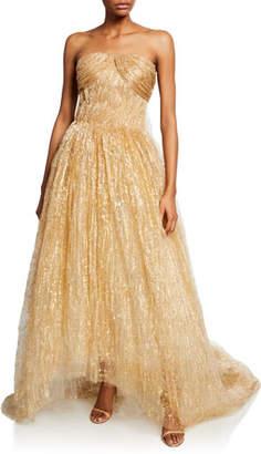 Oscar de la Renta Strapless Draped Tulle Gown
