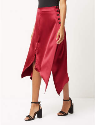George Red Satin Hanky Hem Skirt