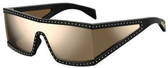 Moschino Acetate Shield Sunglasses w/ Stud Trim