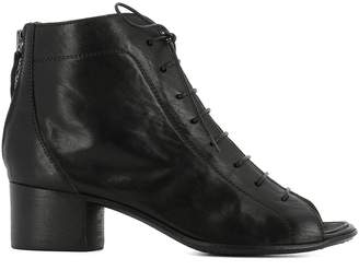 Moma Black Leather Open Toe Heeled Ankle Boots