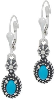 American West Sterling Silver Oval Gemstone Lever Back Earrings