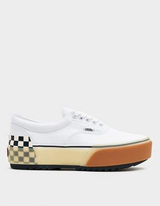 Vans Era Stacked Sneaker in White/Checkerboard