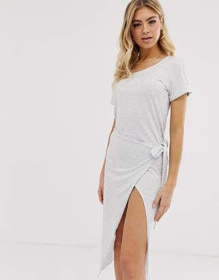 Parallel Lines wrap front t-shirt dress in grey