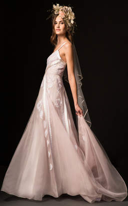 Temperley London Bridal Cybele V-Neck Gown with Embroidered Lace Overlay Body