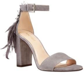 Women's Nine West Aaronita Feather Block Heel Sandal $88.95 thestylecure.com