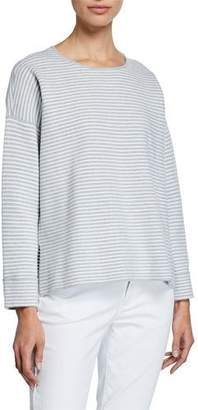 Eileen Fisher Stripe Organic Cotton/Silk Round-Neck Sweater