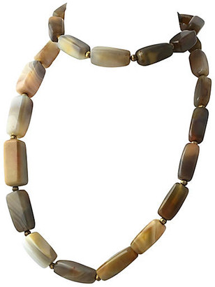 One Kings Lane Vintage Long Banded Agate Bead Necklace - Owl's Roost Antiques