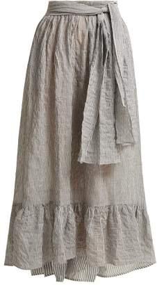 Lisa Marie Fernandez Nicole Tiered Seersucker Skirt - Womens - Black Stripe