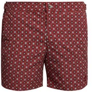 Alexander McQueen Floral Print Burgundy Swim Shorts - Mens - Burgundy