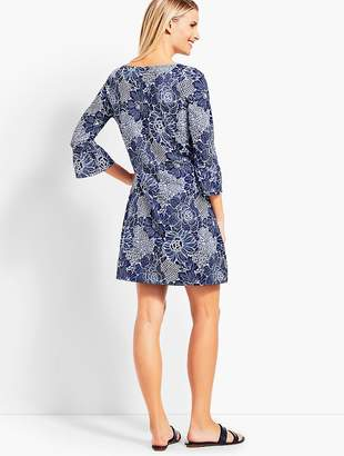 Talbots Dotted Flowers Bell-Sleeve Cover-Up