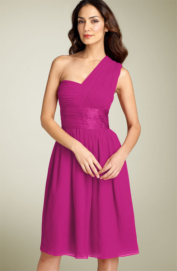 Maggy London One Shoulder Crinkle Chiffon Dress
