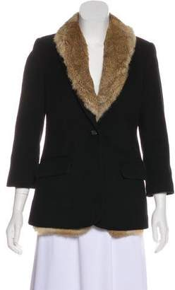 Elizabeth and James Wool Fur-Lined Blazer