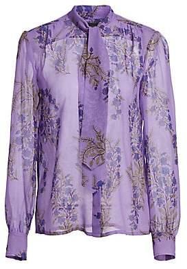 3259e0134ea4c Giambattista Valli Women s Violet Bunch Sheer Silk Blouse