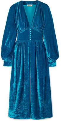 ATTICO Crushed-velvet Robe - Blue