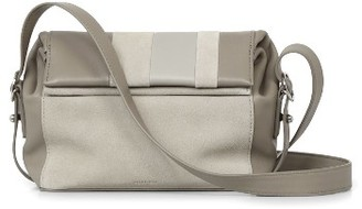Allsaints Casey Calfskin Leather & Suede Small Crossbody Bag - Beige $278 thestylecure.com