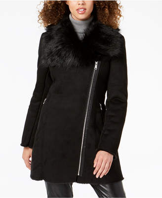 Calvin Klein Asymmetrical Faux-Fur-Collar Coat