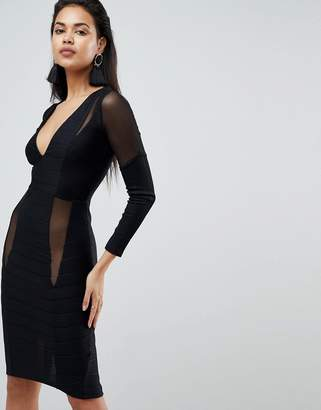 Asos DESIGN Long Sleeve Deep Plunge Bandage Mesh Midi Dress