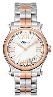 Chopard Women's Happy Sport Diamond, 18K Rose Gold & Stainless Steel Bracelet Watch