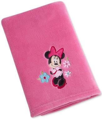Disney Minnie Mouse Hello Gorgeous Embroidered Applique Plush Blanket Bedding