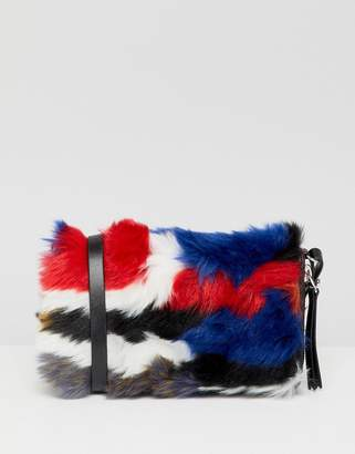 Monki faux fun multi color wallet with shoulder strap