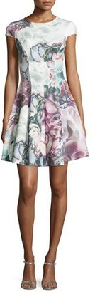 Ted Baker Mah Illuminated Bloom Floral-Print Fit & Flare Dress, Purple $259 thestylecure.com