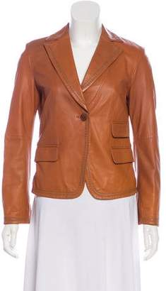 Armani Collezioni Leather Notch-Lapel Blazer