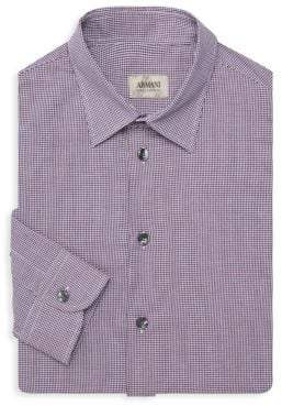 Armani Collezioni Mini Plaid Cotton Button-Down Shirt