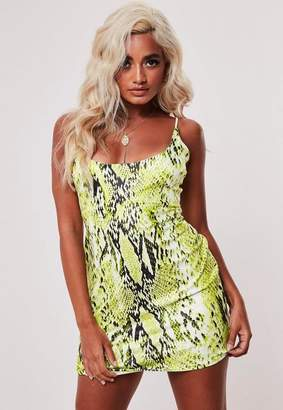 Missguided Petite Strappy Lime Green Snake Print Dress