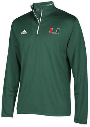 adidas Men's Miami Hurricanes Team Iconic Quarter-Zip Pullover
