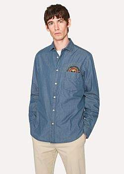 Paul Smith Men's Slim-Fit Blue Chambray Shirt With Embroidered 'Psychedelic Sun'