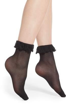 Pretty Polly Ruffle Fishnet Ankle Socks