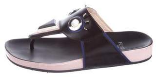 Fendi Monster Leather Thong Sandals