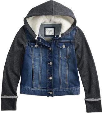 180f3907a75 at Kohl s · Mudd Girls 7-16 Sherpa-Lined Knit Sleeve Denim Jacket