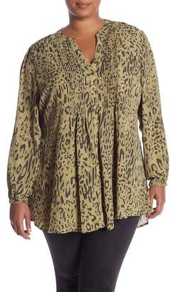 Melissa McCarthy Leopard Pintuck Blouse (Plus Size)