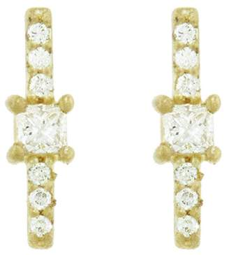 Tate Square And Pavé Diamond Stick Stud Earrings