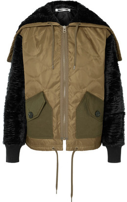 McQ Shearling And Felt-trimmed Quilted Shell Jacket - Army green
