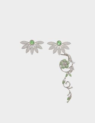 Burberry Asymetric Half-Daisy Drop Earrings in Peridot Green Crystal and Metal