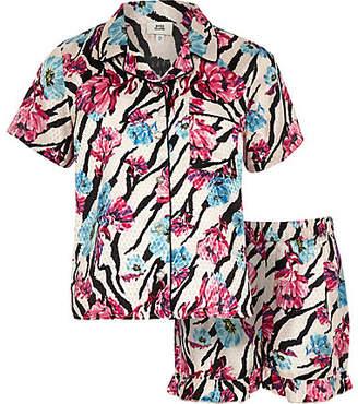 River Island Girls Pink floral zebra print pyjama set