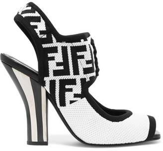 Fendi Logo-jacquard Stretch-mesh Sandals - White