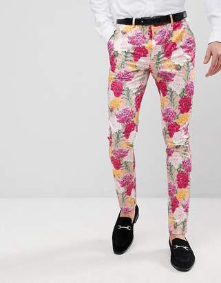 Asos Wedding Skinny Crop Smart Pants In Pink Floral Print