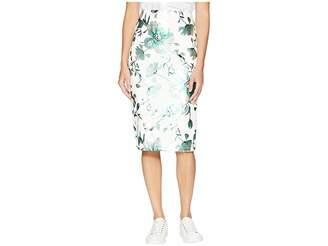 ECI Printed Floral Midi Foil Scuba Skirt Women's Skirt