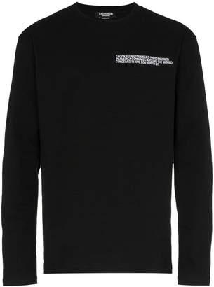 Calvin Klein black address logo long sleeve TShirt