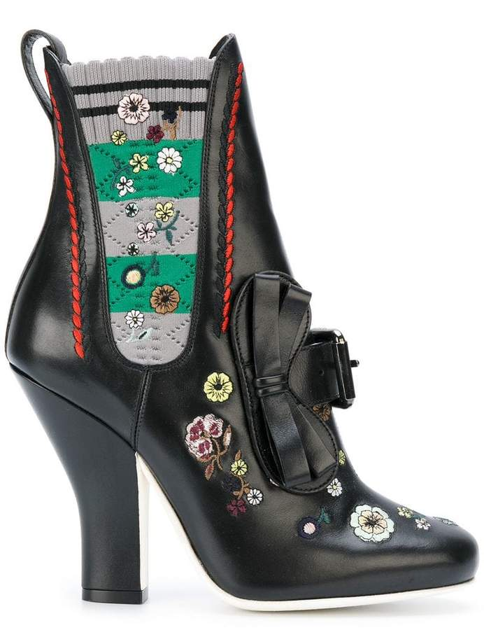Fendi Embroidered ankle boots