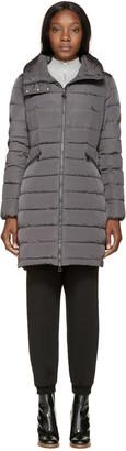 Moncler Grey Down Flammette Coat $1,395 thestylecure.com