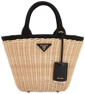 Prada Canvas & Wicker Top Handle Bag