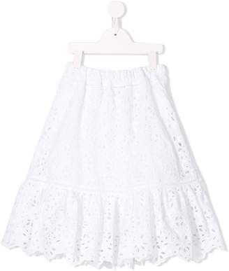 Alberta Ferretti Kids perforated midi skirt