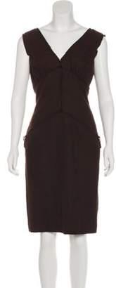 Fendi Sleeveless Knee-Length Dress Brown Sleeveless Knee-Length Dress