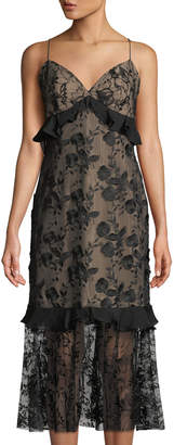 Sachin + Babi Paris Fringe Floral Mesh Midi Dress